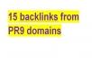 manually produce 15 backlinks from PR9 domains