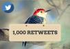 send 1000 High Quality Twitter Retweets